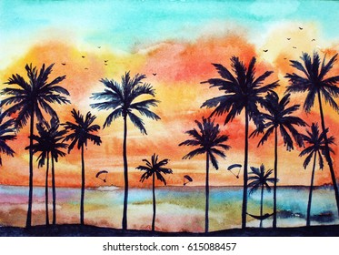 Watercolor tropical landscape with palms, ocean, orange clouds at the sunset