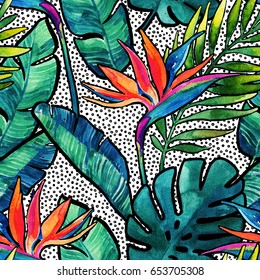 Watercolor tropical leaves and flowers with contour seamless pattern. Watercolour monstera, palm leaves, bird-of-paradise on dots background. Hand painted illustration for summer design.