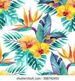 Watercolor tropical leaves and flowers seamless pattern. Hand painted illustration for floral design  background.