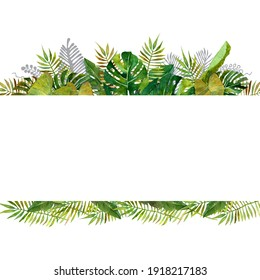 watercolor tropical leaves frames