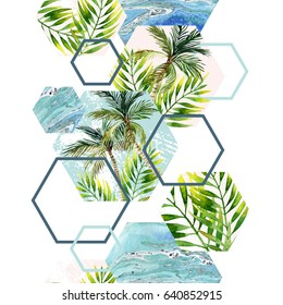 Watercolor tropical leaves and palm trees in geometric shapes seamless pattern. Hexagon, triangle: water color, marbling, paper, grunge texture on white background. Hand painted abstract illustration