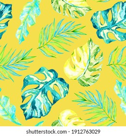 Watercolor tropical leaves seamless pattern on illuminating yellow background