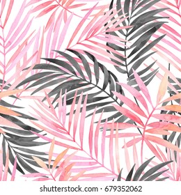 Watercolor tropical leaves seamless pattern. Watercolour pink colored and graphic palm leaf painting. Hand painted art illustration for summer design. Water color exotic background.
