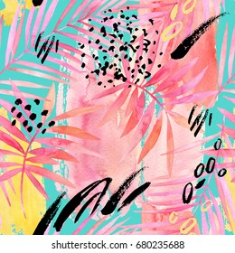 Watercolor tropical leaves seamless pattern. Watercolour pink colored palm leaf and graphic elements painting on color stains background. Hand painted art illustration for summer design.