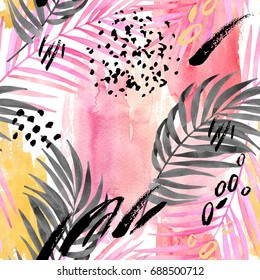 Watercolor tropical leaves seamless pattern. Watercolour pink colored and graphic palm leaf painting with minimal elements on color stains background. Hand painted art illustration for summer design.