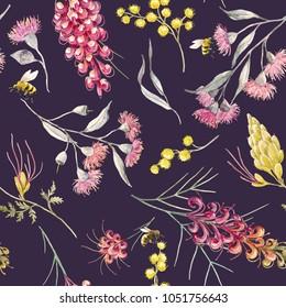 Watercolor tropical pattern with Australian plants, flowers of mimosa. Eucalyptus flowers. Grevillea, flying bees. dark background