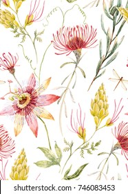 Watercolor tropical pattern with exotic Australian flowers, Proteus, yellow flowers, red flowers  Eremophila dichroantha,  passionflowers