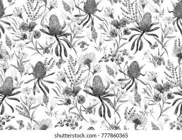 Watercolor tropical  pattern , flowers, banksias orange, oleander pink, exotic Australian flowers, red flowers  Eremophila dichroantha. monochrome black and white pattern