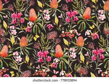 Watercolor tropical  pattern , flowers, banksias orange, oleander pink, exotic Australian flowers, red flowers  Eremophila dichroantha. retro color