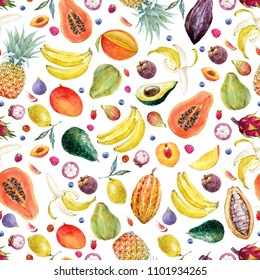Watercolor tropical pattern with fruits, multifruit. Pineapple, papaya, mangosteen, banana, figs, raspberries and blueberries. dragon fruit, pitaya, pear