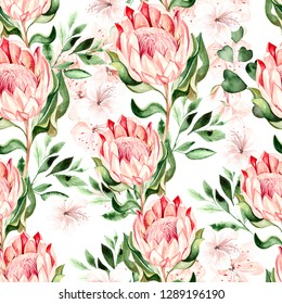 Watercolor tropical pattern with hibiscus and protea flowers. Illustration.