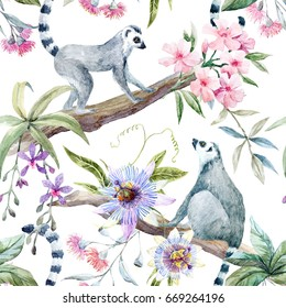 Watercolor tropical pattern with lemurs, passionflower, eucalyptus, Pink oleander, orchid and palm leaves. Summer print