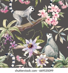 Watercolor tropical pattern with lemurs, passionflower, eucalyptus, Pink oleander, orchid and palm leaves