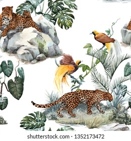 Watercolor tropical pattern with a leopard animal, a wild leopardle walking through the jungle, a leopard with a cub lying on the beds. Birds of Paradise on the tree. Palm tree and Monsterra plant