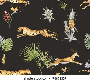 watercolor tropical pattern with leopard and antelope, tropical plant, pineapple, flower Strelitzia, Tibetan deer, safari wallpaper, black background