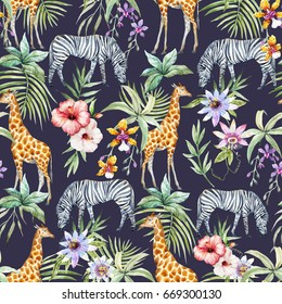 Watercolor tropical pattern with palm leaves, hibiscus, passion fruit and orchids. Giraffe and zebra. Dark jungle pattern