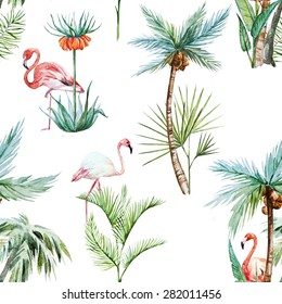watercolor tropical pattern, palm trees and flamingos