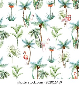 watercolor tropical pattern, palm trees and flamingos white background