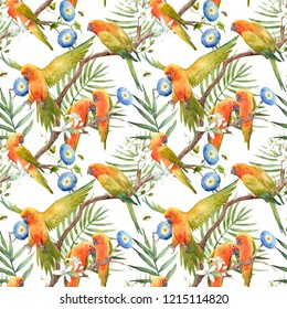 Watercolor tropical pattern with parrot lovebirds on the tree, Tropical blooming orange,  blue flower Convolvulus .  flying bee.