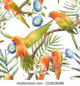 Watercolor tropical pattern with parrot lovebirds on the tree, Tropical blooming orange,  blue flower Convolvulus .  flying bee