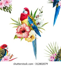 watercolor tropical pattern Rosella parrot, bright colorful exotic pattern, birds, orchids, hibiscus flowers