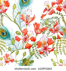 Watercolor tropical pattern with Tree branches  Royal Poinciana, Peacock feathers. Delonix regia