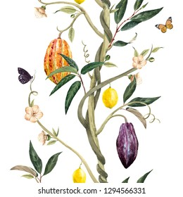 Watercolor tropical pattern, tree with cocoa fruits, flowers and leaves. Lemons on the branches, flying butterflies. Lianas.