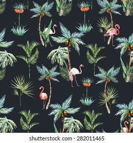 watercolor tropical retro pattern, palm trees and flamingos dark background