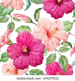 Watercolor tropical retro pattern with purple and pink hibiscus,Summer floral print