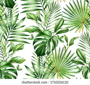 Watercolor tropical seamless pattern. Exotic palm leaves, monstera, coconut isolated on white. Botanical hand drawn illustration for wedding, surface, textile, wallpaper design