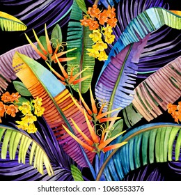 watercolor tropical seamless pattern. hand-drawn jungle nature illustration
