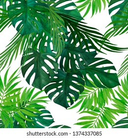 Watercolor tropical seamless pattern with jungle leaves: palms, monstera. Beautiful allover print with hand drawn exotic plants.