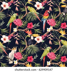 Watercolor tropical tree pattern with tropical plants. Flowers of hibiscus, blooming ginger, strelitzia and   Orchid, protea, palm leaves. Parrot ara and toucan