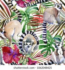 watercolor tropical wildlife seamless pattern. hand-drawn jungle nature, lemur, hibiscus flowers illustration