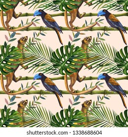 Watercolor tropical wildlife seamless pattern. Hand Drawn night jungle nature, wild animal, bird, animals eyes, illustration