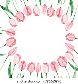 Watercolor tulips frame. International women's day. For design, card, print or background.