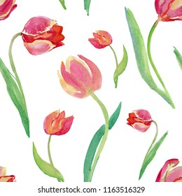 Watercolor tulips. Ideal for printing onto fabric and paper or scrap booking. Hand painted. Raster illustration.