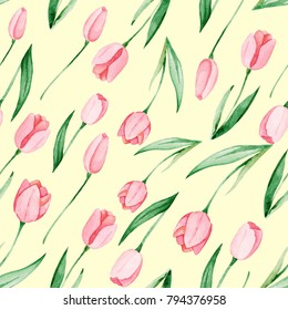 Watercolor tulips pattern. International women's day. For design, card, print or background.