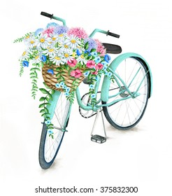 Watercolor Turquoise Bicycle With Beautiful Flower Basket. Hand Painted Summer Bike