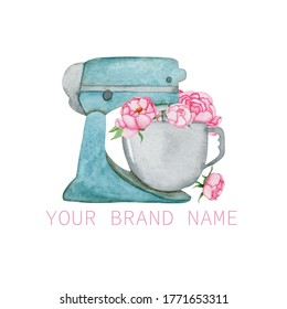 Watercolor turquoise planetary mixer with pink peonies flowers on a white background. Ideal for the logo of your confectionery, catering, bakery and more.