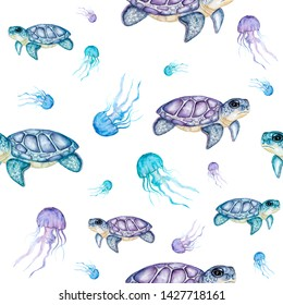Watercolor turtles. Seamless pattern. Hand drawn, watercolor  turtles with jelly fishes. Isolated on white. Wild sea animals. Realistic. Ocean animals. Horizoltal. Clipart. Exotic animal
