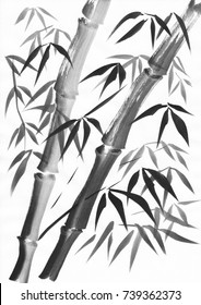 Watercolor of two bamboo stalks painted with grunge strokes. Black gouache on white paper study.