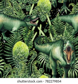 Watercolor Tyrannosaurus Rex decorated with green prehistoric plants. Hand painted seamless pattern with dinosaurs. Predator of the jurassic age