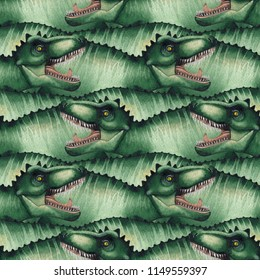 Watercolor Tyrannosaurus Rex. Hand painted seamless pattern with dinosaurs. Predator of the jurassic age