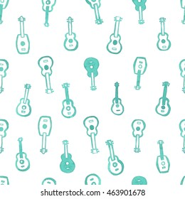 Watercolor ukulele seamless pattern, 3 from 12, white background, green blue guitars, placed in lines