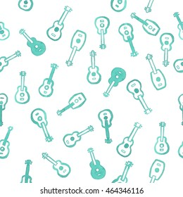 Watercolor ukulele seamless pattern, 5 from 12, white background, green blue guitars, placed randomly