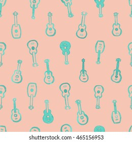Watercolor ukulele seamless pattern, green blue guitars, placed in lines