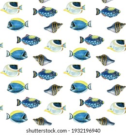 Watercolor undersea pattern. Tropical fish pattern in hand drawn style.