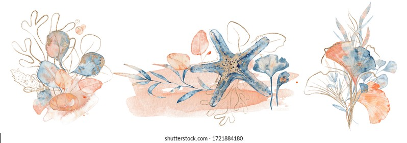 Watercolor underwater floral bouquet with corals and starfish, hand drawn marine illustration
