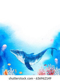 Watercolor underwater vertical background. Hand drawn cover design with blue whale, coral branches, sea horse, jellyfish and fishes on splash background. Ocean life